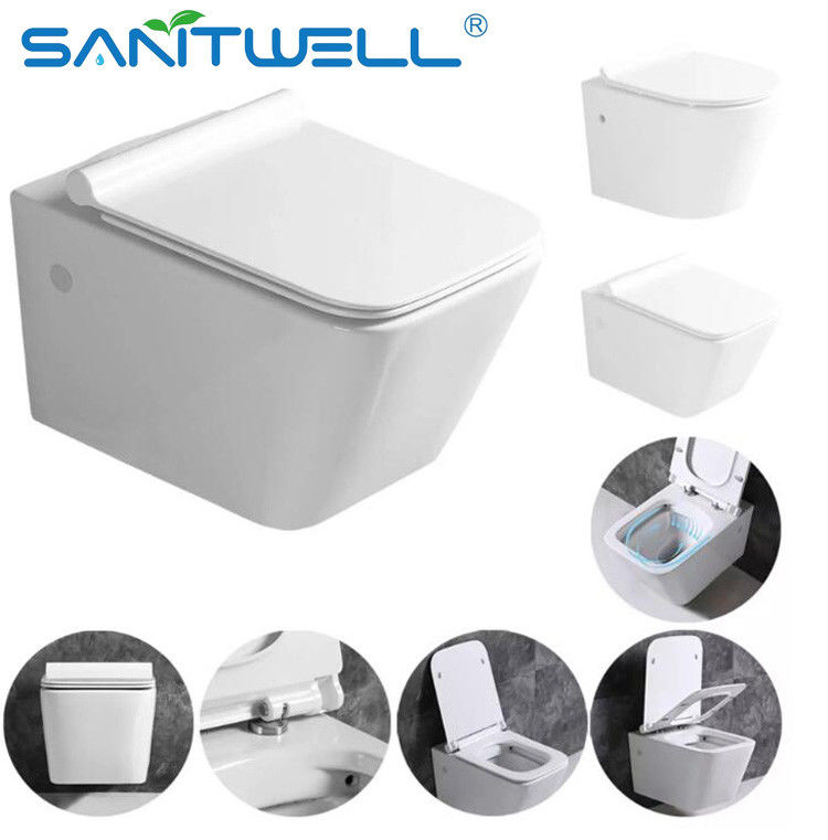 Popular Ceramic WC Public Wall Hung Toilet With UF Soft Closing Seat Cover