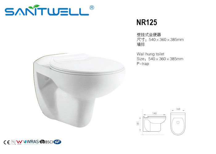 540*360*385 mm NR125  Wall Hung Toilet In Living Room White Color
