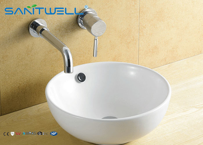 Home White Counter Top Wash Basin , Ceramic Bathroom Sink 430*430*170mm