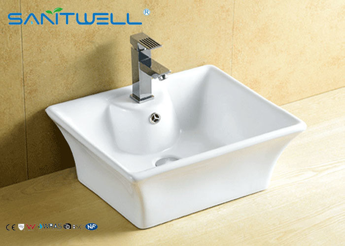 Bathroom Ceramic One Piece Sink And Counter Top Basin 495*410*190 mm White Color