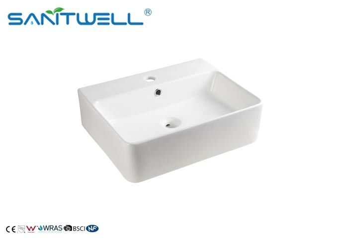 Luxury Style Ceramic Art Basin , Bathroom Countertop Basin With Rectangle Shape