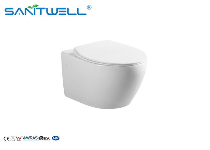 Modern Style Water Saving Toilets / Bathroom Round Wall Hung Toilet