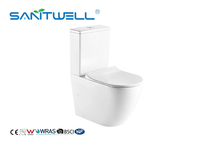 Rimless Close Coupled Toilet Ceramic Material Two Piece Structure With Soft Surface