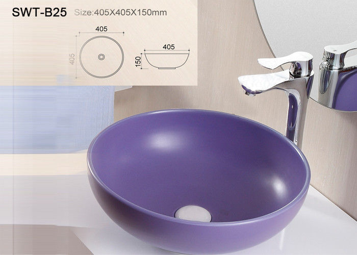 Sanitary Ware Self Cleaning Color Art Wash Basin With Solid Surface Round Shape
