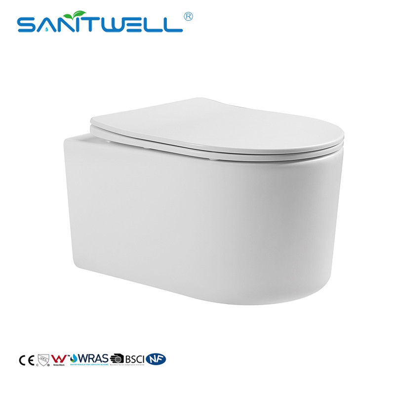 180mm P Trap 490mm Rimless One Piece Wall Mounted Toilet